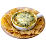Spinach Articoke Jalapeño Dip with Chips